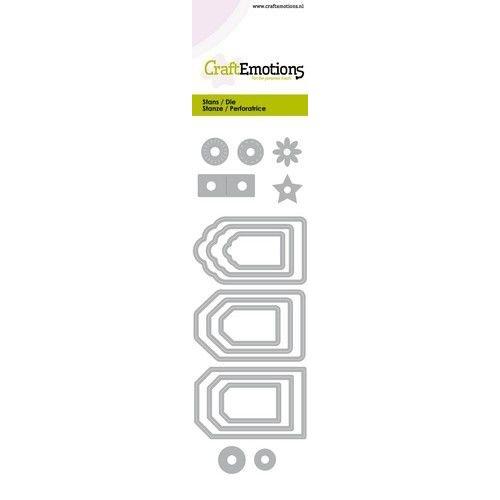 CraftEmotions 115633/0754 - CraftEmotions Die - label variatie 9 stuks Card 5x15cm - 14,5cm