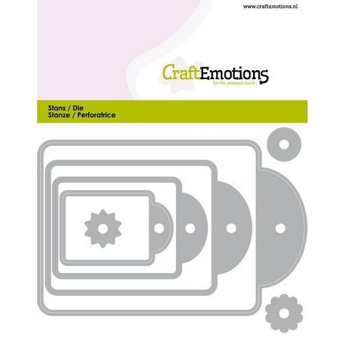 CraftEmotions 115633/0824 - CraftEmotions Die - labels 4 formaten Card 11x9cm - 44, 61, 82, 107 mm