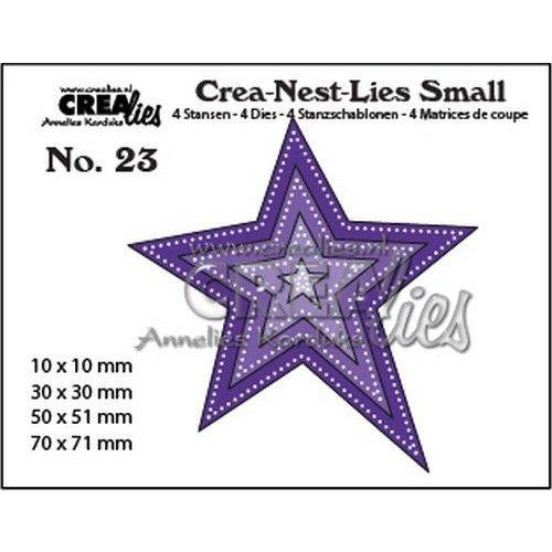 Crealies CNLS23 - Crealies Crea-nest-Lies Small ster met dubbele stippenlijn (4x) 3 max 70x71mm