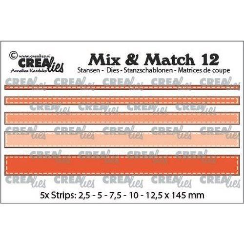 Crealies CLMix12 - Crealies Mix & Match strips met stiklijn (5x) 12 max. 12,5x145 mm