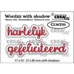 CLWZ01 - Crealies Wordzz with Shadow Hartelijk gefeliciteerd (NL) 1 22x85 mm