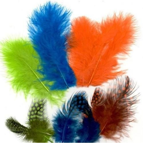 12229-2906 - Feathers,Marabou & Guinea Fowl,Ass.Mix,Neon