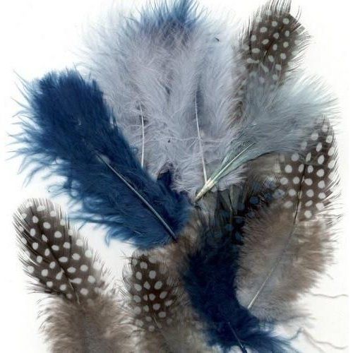 12229-2907 - Feathers,Marabou & Guinea Fowl,Ass.Mix,Ocean