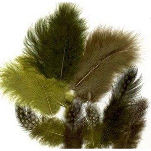 12229-2908 - Feathers,Marabou & Guinea Fowl,Ass.Mix,Forest