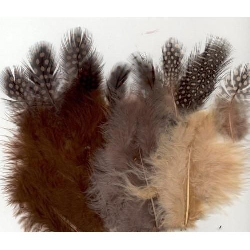 12229-2910 - Feathers,Marabou & Guinea Fowl,Ass.Mix,Earth