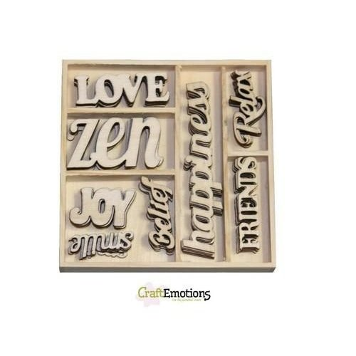 CraftEmotions 811500/0182 - CraftEmotions Houten ornament Happiness - tekst Happiness 40 pcs - box 10,5 x 10,5 cm