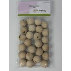 810100/1025 - Craftemotions houten bal met gat, naturel 2,5cm 25 st.
