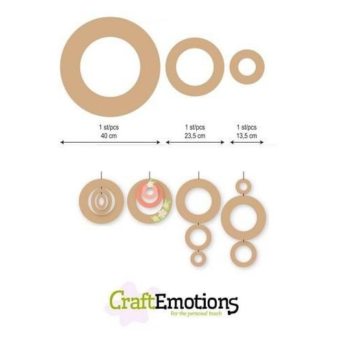 CraftEmotions 460.446.011 - CraftEmotions MDF 3 ringen 40 - 23,5 - 13,5cm x 6mm