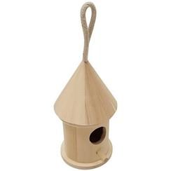 SL170 - Houten vogelhuisje rond klein 7,8cm x 8cm x 13,5cm