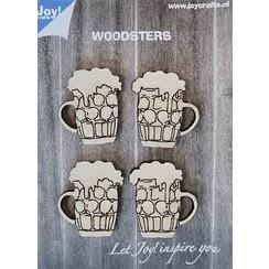 6320/0017 - Joy! Crafts Woodsters - Bierpullen 0017 4st. 40x35 mm