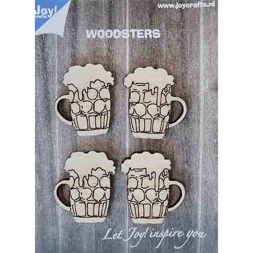 Joy!Crafts 6320/0017 - Joy! Crafts Woodsters - Bierpullen 0017 4st. 40x35 mm