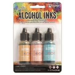 TAK25955 - Ranger Alcohol Ink Kits  Lakeshore Sandal,Aqua,Salmon 955 Tim Holtz 3x15ml