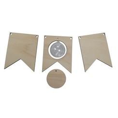 6320/0019 - Joy! Crafts Vlaggetjes hout met transparante bol 5 cm 0019 2x 13x10x0,4cm