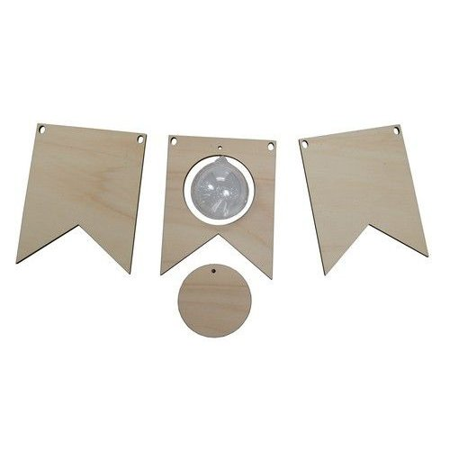 Joy!Crafts 6320/0019 - Joy! Crafts Vlaggetjes hout met transparante bol 5 cm 0019 2x 13x10x0,4cm
