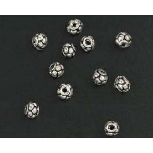 10303-9102 - Metalen kralen zilver rond fantasie 15 ST -9102