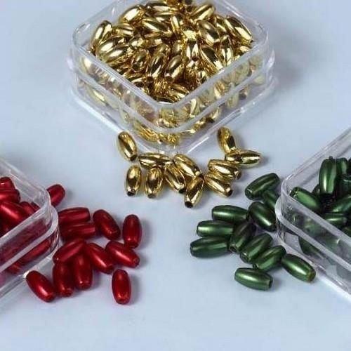12100-0004 - Parelkraaltjes ovaal d.rood-groen-goud 6 mm -0004