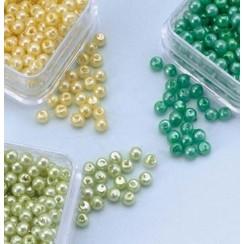 12103-0312 - Parelkraaltjes rond geel-groen-l.groen 3 mm -0312