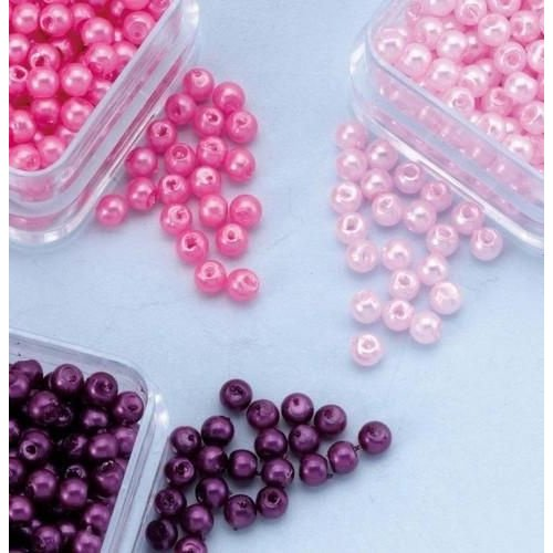 12103-0313 - Parelkraaltjes rond paars-roze-lichtroze 3 mm -0313