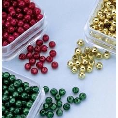 12103-0314 - Parelkraaltjes rond d.rood-groen-goud 3 mm -0314