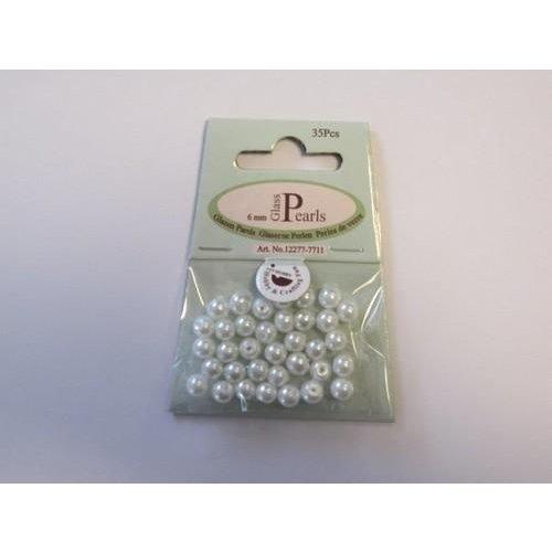 12277-7711 - Glas parels rond 6mm wit zak 35 ST -7711