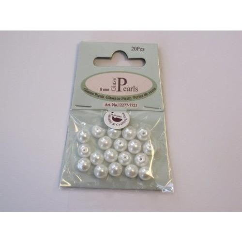 12277-7721 - Glas parels rond 8mm wit zak 20 ST -7721