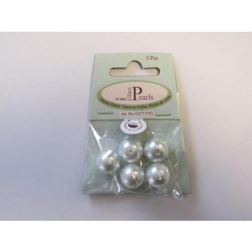 12277-7751 - Glas parels rond 14mm wit zak 5 ST -7751