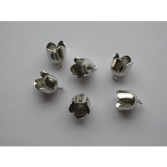 12296-9605 - Brass Bell Cap-eindkap met oog 10mm platinum 6 ST -9605