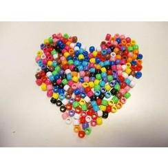 12328-2801 - Pony Beads opaak 6x8MM assort kleuren 50 GR -2801