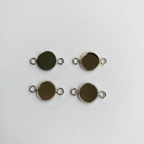 12332-3215 - Hanger met 2 ogen rond 10mm zetting (voor epoxy) 4st -3215 (platinum)