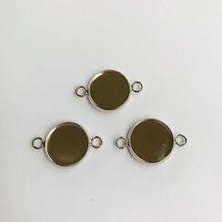 12332-3216 - Hanger met 2 ogen rond 14mm zetting (voor epoxy) 3 st -3216 (platinum)