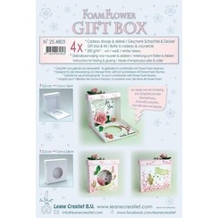 25.4803 - Flower Foam gift boxes  4 x white  10,5x11x2,8 cm.