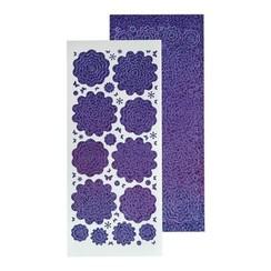 61.5817 - 10 Nested Flowers stickers 2. diamond purple