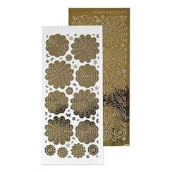 61.5862 - 10 Nested Flowers stickers 7. mirror gold