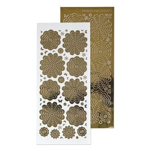 Leane Creatief 61.5862 - 10 Nested Flowers stickers 7. mirror gold
