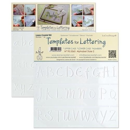 Leane Creatief 95.5565 - 2 Templates for Handlettering Alphabet style 2, Upper case+ Lower case+Numbers
