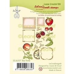 55.6357 - LeCreaDesign combi clear stamp Thee tijd