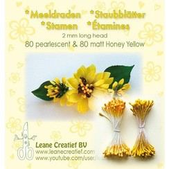 26.6586 - Meeldraden  2mm,  80 matt & 80 pearl honey yellow