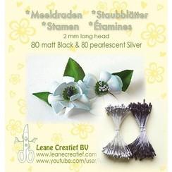 26.6630 - Meeldraden  2mm,  80 matt black & ±80 pearl  silver