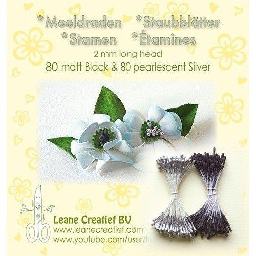 Leane Creatief 26.6630 - Meeldraden  2mm,  80 matt black & ±80 pearl  silver