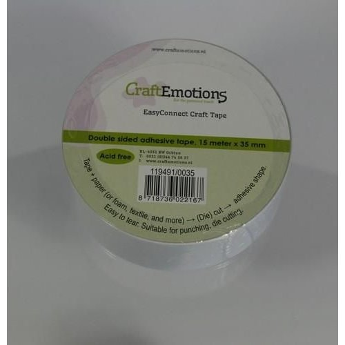 CraftEmotions 119491/0035 - CraftEmotions EasyConnect (dubbelzijdig klevend) Craft tape 15m x 35mm