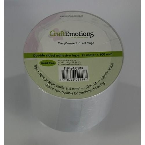 CraftEmotions 119491/0100 - CraftEmotions EasyConnect (dubbelzijdig klevend) Craft tape 15m x 100mm