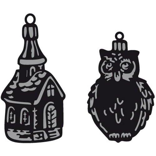 Marianne Design CR1381 - Craftable Tiny's ornaments church & owl 1