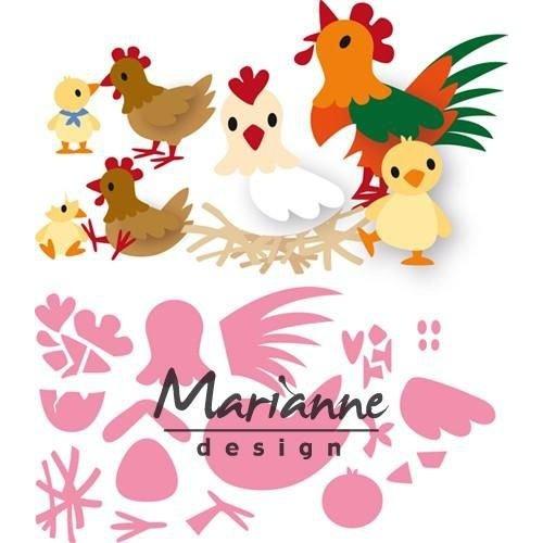Marianne Design COL1429 - Collectable Eline's kippen familie 29  14,5x20,5 cm