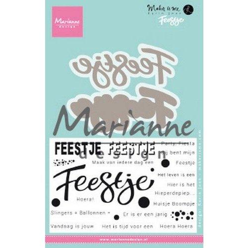 Marianne Design KJ1728 - Clear Stamp and Die Karin's Feestje