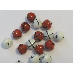12239-3931 - Christmas bells, 8mm, Red & White, 16pcs