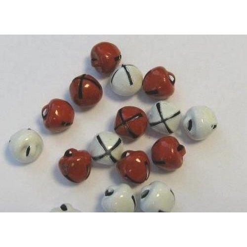 12239-3931 - Christmas bells, 8mm, Red & White, 16pcs