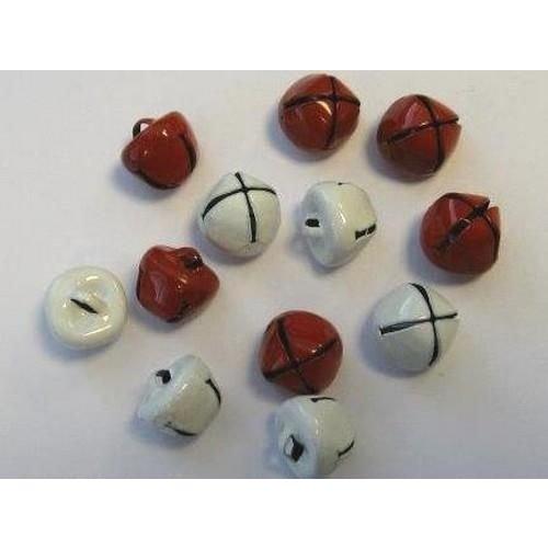 12239-3932 - Christmas bells, 10mm, Red & White, 12pcs