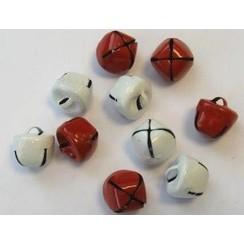 12239-3933 - Kerst belletjes rood en wit 12 mm 10 ST