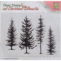 CSIL004 - Christmas Silhouette Clear stamps pine trees