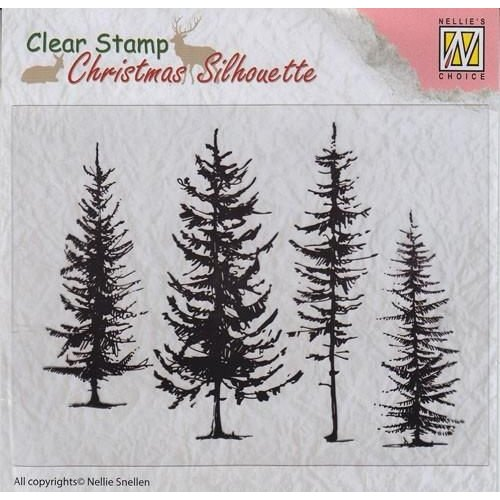 Nellie Snellen CSIL004 - Christmas Silhouette Clear stamps pine trees
